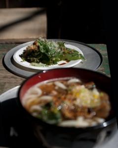 山菜の天ぷら 本当は、もっと量あるのだがうどん待ちの間につまんでしまった。紅葉シーズンでは、紅葉の天ぷらが入ることもあった。
