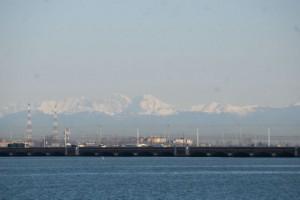アルプス山脈が見える